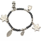 nice round tungsten steel and tibet silver leaf star lucky bag and heart charm bracelet
