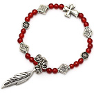 fashion A grade round natural red agate and multi tibet silver leaf flower cross charm bracelet