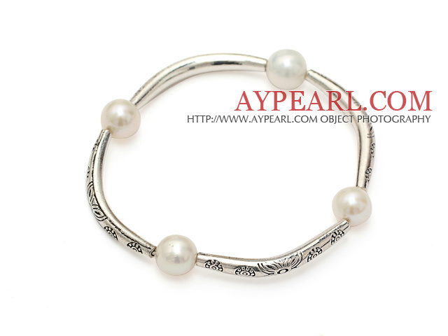 Classic A Grade Natural White Freshwater Pearl And Tibet Silver Tube Charm Bracelet