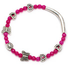 Lovely Pink Faceted Round Pink Jade And Tibet Silver Tube Butterfly Peach Heart Charm Bracelet