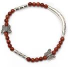 elegant round goldstone and tibet silver butterfly tube charm beads bracelet