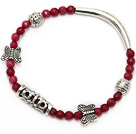 faceted round red jade and tibet silver tube butterfly charm beads bracelet