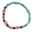 nice round 4mm blue turquoise coral and tibet fishes charm beaded bracelet