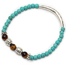 Wholesale fashion round blue turquoise tiger eye and tibet silver tube charm beaded bracelet
