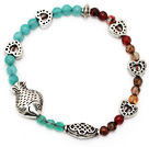 beautiful round blue jade and multi agate tibet silver fish heart charm beads bracelet