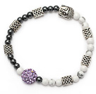 lovely tungsten steel stone and white turquoise and tibet silver buddhu head purple rhinestone beads bracelet