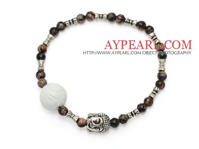 fashion round red jasper and white sea shell lotus and tibet silver buddhu head charm bracelet