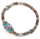 Wholesale lovely round gray persian agate colored glaze and tibet silver fish charm beads bracelet