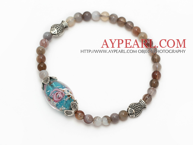 lovely round gray persian agate colored glaze and tibet silver fish charm beads bracelet
