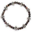Wholesale lovely round red jasper and tibet silver skull beaded charm bracelet