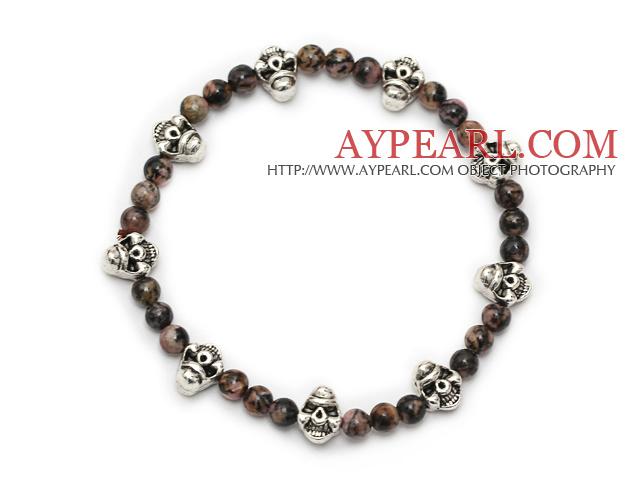 lovely round red jasper and tibet silver skull beaded charm bracelet