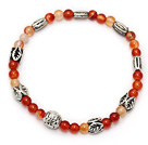 fashion natural color round agate and multi tibet silver charm beaded bracelet