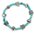 fashion round blue jade and tibet silver heart fish butterfly charm beads bracelet