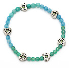 fashion round blue jade green agate and tibet silver heart charm beads bracelet