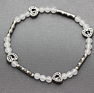 elegant 4mm round white jade and multi tibet silver carved tube heart charm beads bracelet