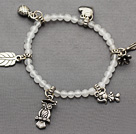 nice white jade and multi tibet silver leaf owl heart charm beaded bracelet