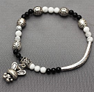 delicate round black agate and white turquoise and multi tibet silver rabbit charm bracelet