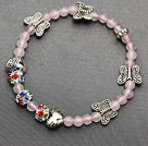 delicate soft 4mm rose quartz and tibet silver butterfly charm colorful rhinestone beaded bracelet