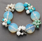 Wholesale faceted round opal and cluster pearl turquoise agate porcelain stone bracelet