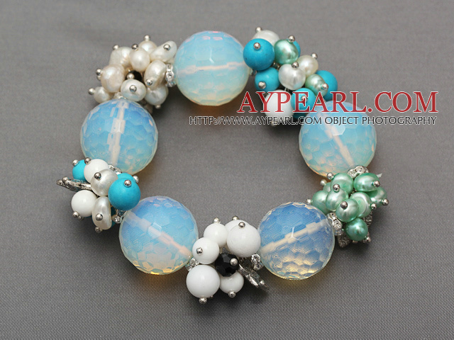 faceted round opal and cluster pearl turquoise agate porcelain stone bracelet