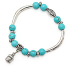 lovely 8mm round blue turquoise and mutli tibet silver tube buddhu head charm beads bracelet