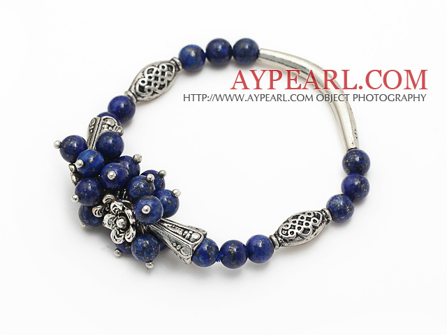 fashion cluster 6mm round lapis stone and tibet silver tube horn charm bracelet