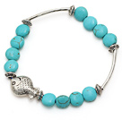 lovely 8mm flat round blue turquoise and tibet silver tube fish charm bracelet