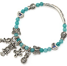 nice 4mm blue jade and multi tibet silver fish butterfly heart bag owl charm beaded bracelet