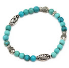 nice 6mm round blue turquoise and tibet silver fish charm beaded bracelet