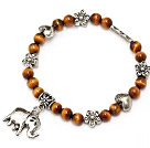 classic 6mm round tiger eye and tibet silver flower heart elepant charm beaded bracelet