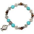 Wholesale fashion blue turquoise round tiger eye and tibet silver fish charm beads bracelet