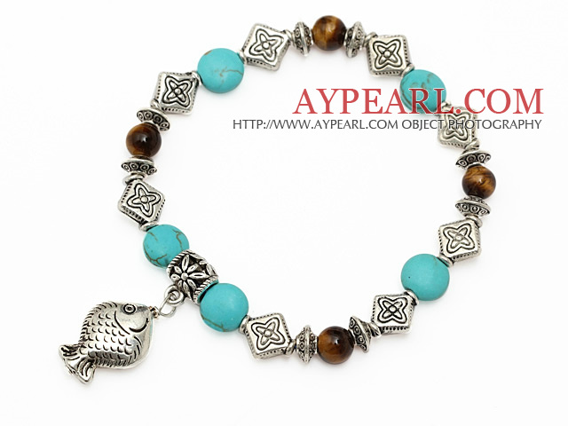 fashion blue turquoise round tiger eye and tibet silver fish charm beads bracelet