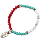 lovely 4mm white and blue round turquoise red coral and tibet silver leaf charm beaded bracelet