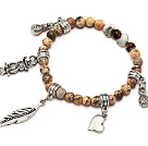 Wholesale lovely 6mm picture jasper and tibet silver leaf bag heart owl charm beads bracelet