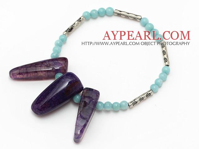 Elegant round amazon stone and large purple teeth agate tube charm bracelet