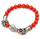 fashion 7mm orange red round coral and tibet silver fish horn flower charm beaded bracelet