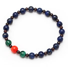 Wholesale elegant mixed round lapis garnet peacock and coral stretchy beads bracelet