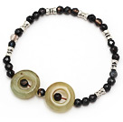 simple style faceted black agate and three color jade tibet silver charm bracelet