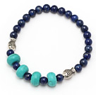 fashion round lapis and abacus blue turquoise tibet silver fish charm beads bracelet