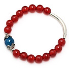 Classic A grade round red agate and faceted blue agate and tibet silver cap tube charm bracelet