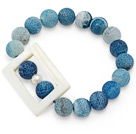 nice round decayed blue agate and white hollow rectangle shell beaded elastic bracelet