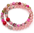 Wholesale fashion round cherry quartz three color jade and red coral tibet silver charm beads bracelet