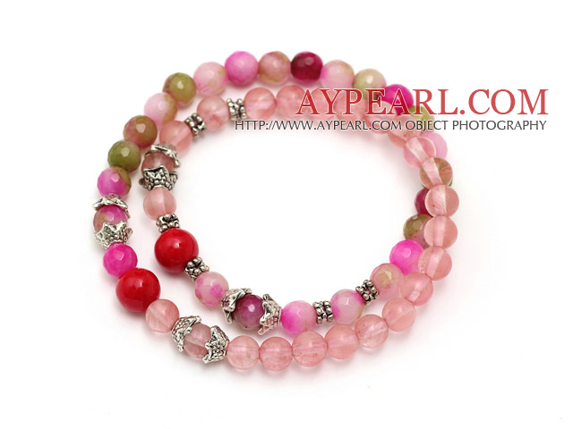 fashion round cherry quartz three color jade and red coral tibet silver charm beads bracelet