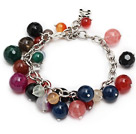 fashion loop chain style multi color mixed gemstone bracelet (random color stones)