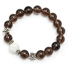 Wholesale pretty natural round smoky quartz and white sea shell stretch bracelet
