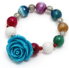 fashion multi color faceted round agate and white sea shell and blue resin flower beads bracelet
