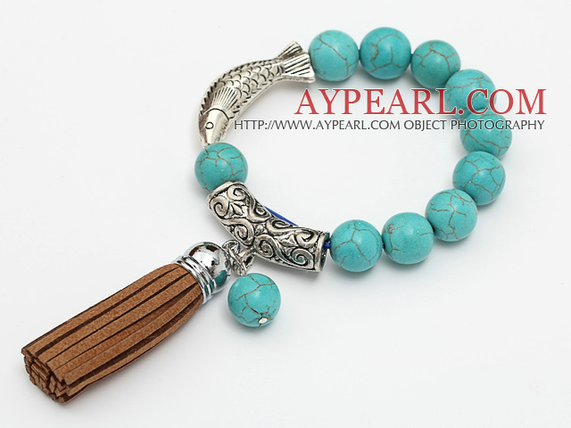 lovely 12mm round blue turquoise and tibet silver fish tube charm bracelet with brown tassels