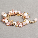 elegant layer style 10mm pink rhinestone woven adjustable pink drawstring bracelet