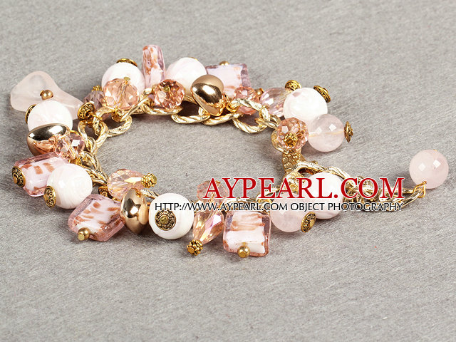 Ethnic Style Pretty Pink Series Pink Crystal Rose Quartz Charm Adjustable Bracelet With Golden Chain