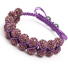 fashion layer style 10mm pinkish purple rhinestone woven adjustable violet drawstring bracelet
